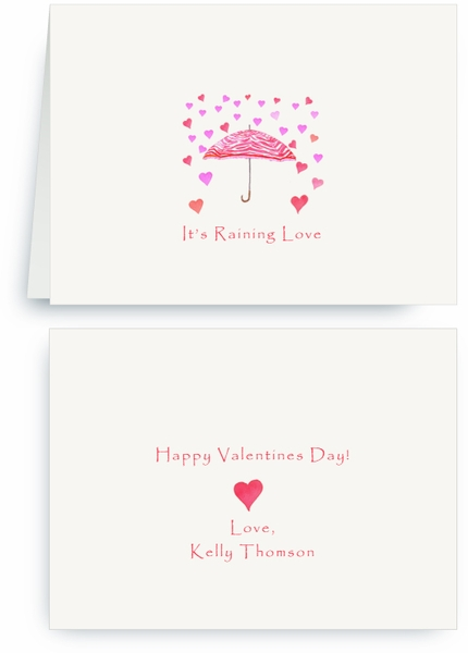 Red Zebra Umbrella - Raining Hearts - Valentines Card