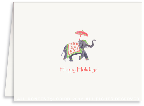 Festive Elephant �Green/Red - Greeting Card