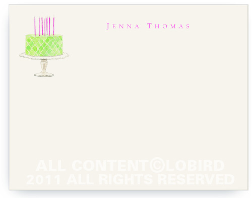 Beaded Birthday Cake - Spring Green - Flat Note Cards