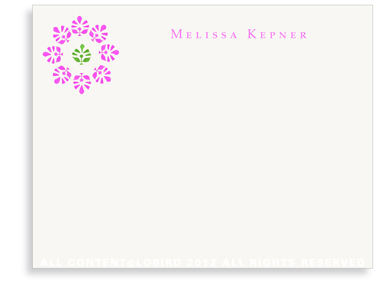 Block Print Flower - Fuchsia/Green - Flat Note cards