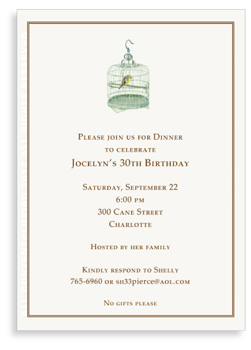 Hong Kong Market Bird Cage - Invitations