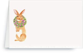 Brown Rabbit with Peony Wreath - Place Cards