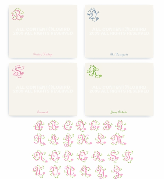 French Vine Monogram - Flat Note cards