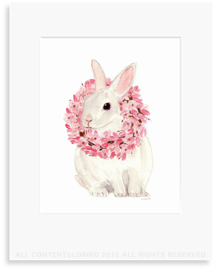 White Rabbit with Magnolia Wreath - 8 x 10 Print in 11 x 14 Mat