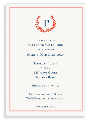 Coral Crest Monogram-invitations