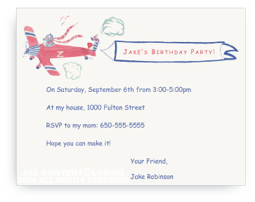 Zebra Flying Plane - Invitations