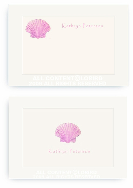 Pink Scallop Sea Shell - Enclosure Cards