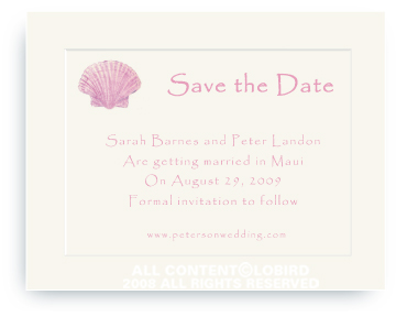 Pink Scallop Sea Shell - Save the Date Cards
