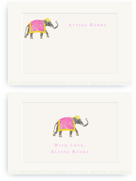 Festive Elephant with Bead Tapestry - Fuchsia - Enclosure Cards