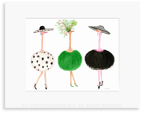 Ostrich ladies-1- 8 x 10 Print in 11 x 14 Mat