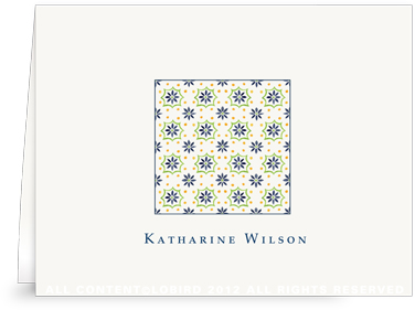 Talavera Tile - navy/green  -Folded Note Cards