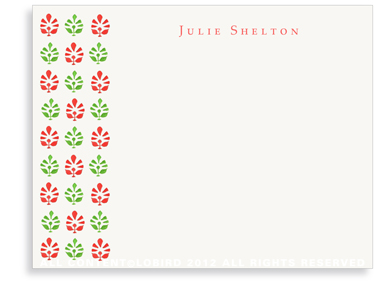 Block Print Tapestry - Green/Red - Flat Note cards