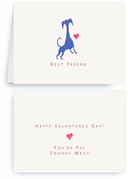 Blue Dog Red Spots with Heart - Valentines Card