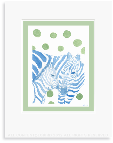 Zebra-mother/baby - 8 x 10 Print in 11 x 14 Mat
