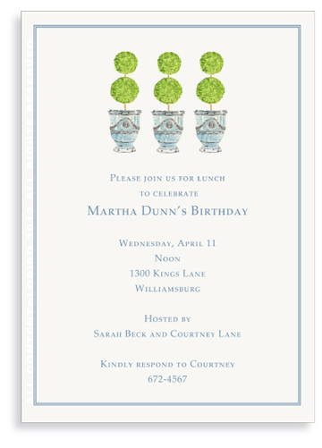 Trio of Turquoise Anduze Pots  with Topiaries -Invitations