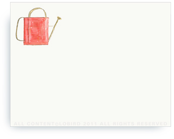 "Red Watering Can - Non-Personalized Note Cards (4.25"" X 5.5"")"