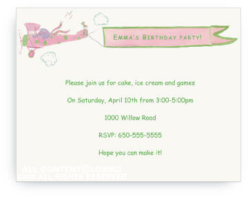 Elephant Flying Plane - Invitations