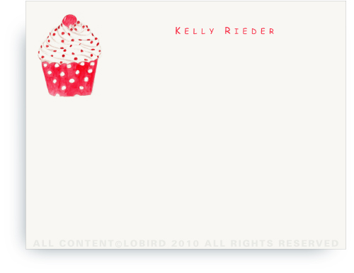 Cupcake - Red Polka Dot - Note cards