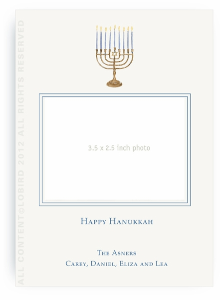 Menorah -Holiday Card-Flat Portrait