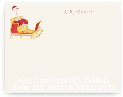 Holiday Ostrich in Sleigh - Note cards