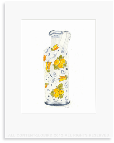 Lemon Italian Oil Pitcher - 8 x 10 Print in 11 x 14 Mat