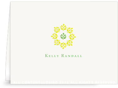 Block Print Flower - Green/Yellow - Folded Note Cards