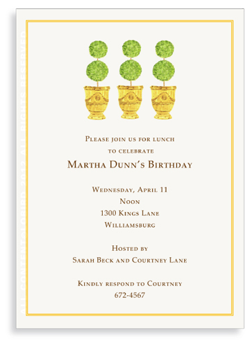 Trio of Yellow Anduze pots  with Topiaries - Invitations