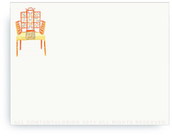 "Chinese Chippendale Chair - Non-Personalized Note Cards (4.25"" X 5.5"")"