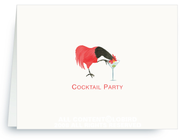 Rooster Drinking Martini - Invitations