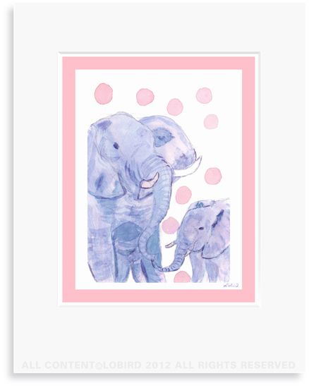 Elephant-mother/baby - 8 x 10 Print in 11 x 14 Mat