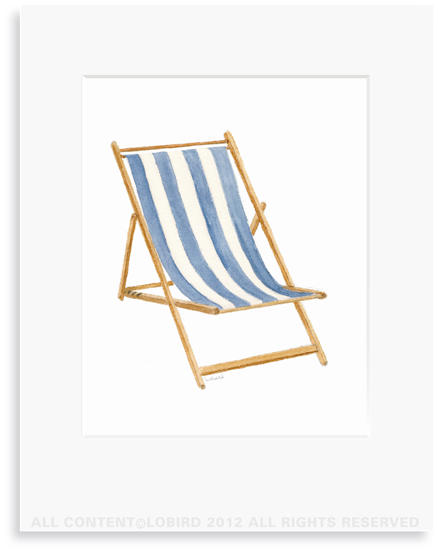 Beach Chair - Blue-8 x 10 Print in 11 x 14 Mat