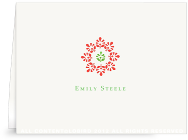 Block Print Flower - Green/Red - Folded Note Cards