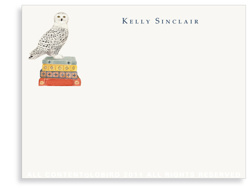Snowy Owl on Stack of Books - Flat Note Cards