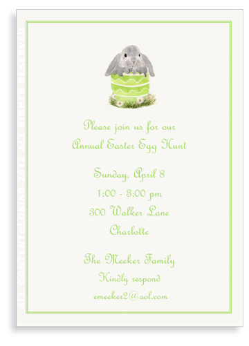 Floppy Bunny in Green Egg - Invitations