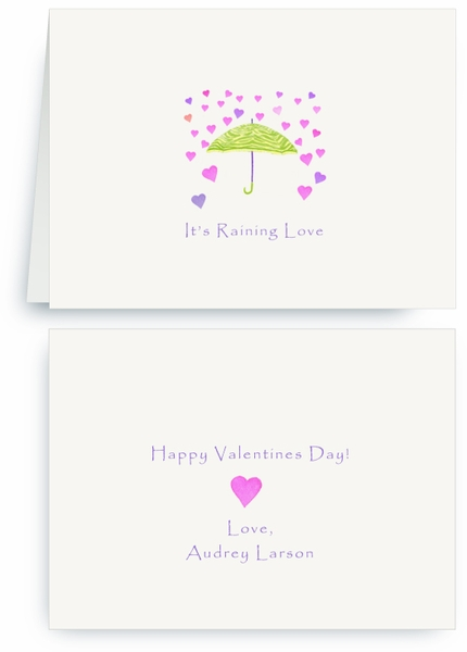 Lime Zebra Umbrella - Raining Hearts - Valentines Card