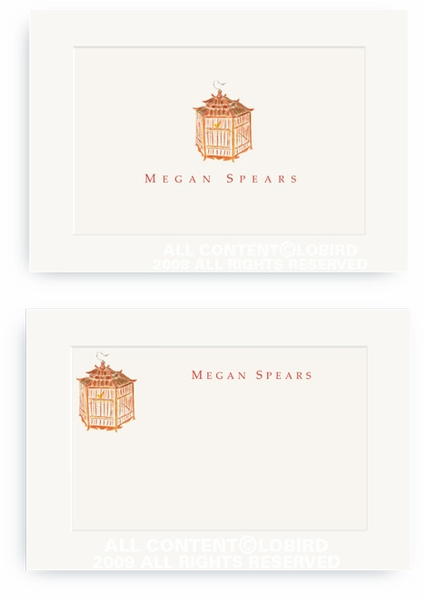 Red Pagoda Bird Cage - Enclosure Cards