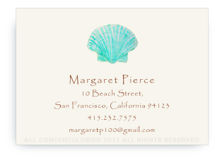 Aqua Green Scallop Sea Shell - Calling Cards