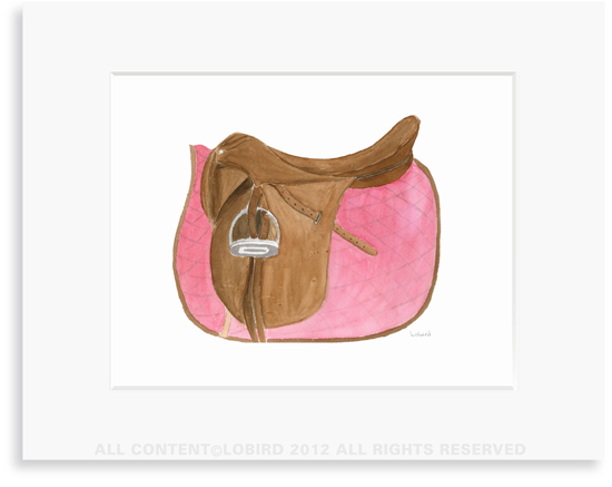 Equestrian-Rose Pink Saddle - 8 x 10 Print in 11 x 14 Mat