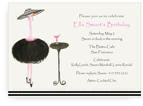 French Ostrich - Gigi with Cocktail - Invitations