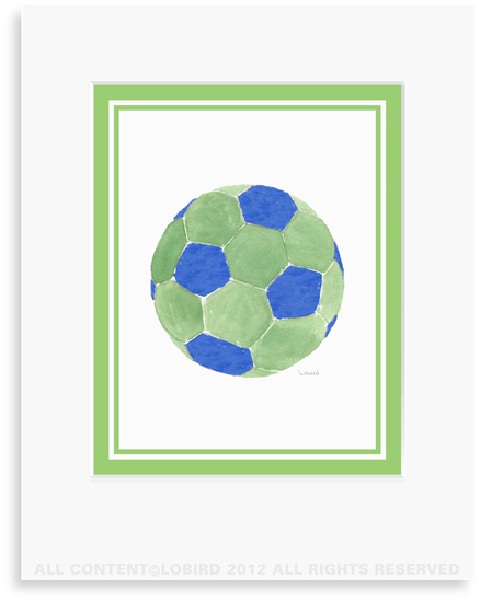 Soccer Ball-Blue/green- 8 x 10 Print in 11 x 14 Mat