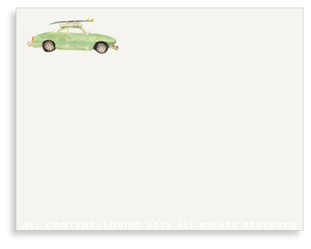 "Vintage Surf Car- Non-Personalized Note Cards (4.25"" X 5.5"")"