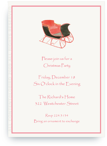 One Horse Sleigh - Invitations