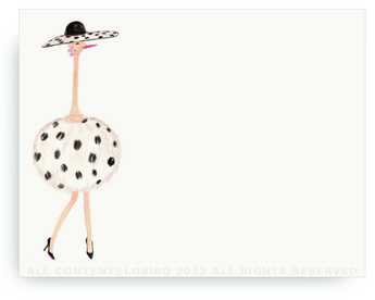 "Ostrich - Coco - Non-Personalized Note Cards (4.25"" X 5.5"")"
