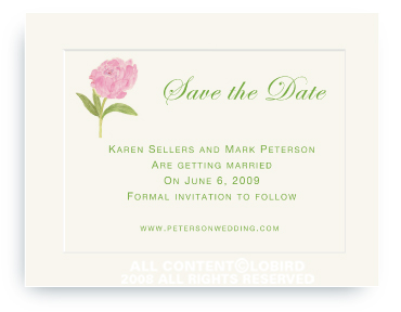 Pink Peony - Save the Date Cards
