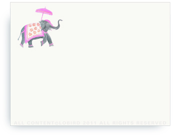 "Festive Elephant - Fuschia/Orange - Non-Personalized Note Cards (4.25"" X 5.5"")"
