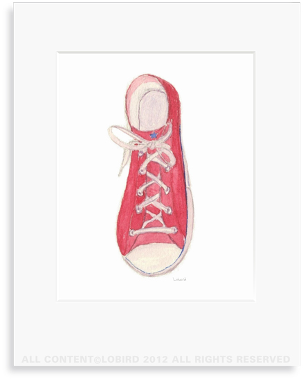 Red Sneaker - 8 x 10 Print in 11 x 14 Mat