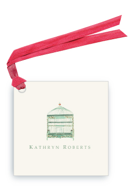 Green Willow Bird Cage - Gift Tags