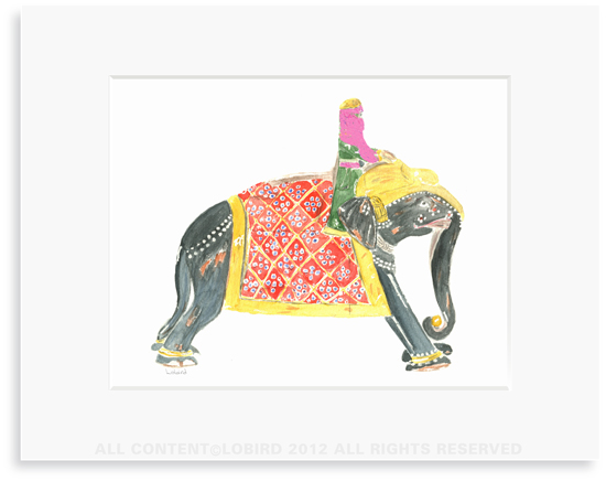 Princess Riding Elephant - 8 x 10 Print in 11 x 14 Mat