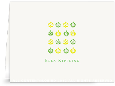 Block Print Tapestry - Green/Yellow - Folded Note Cards