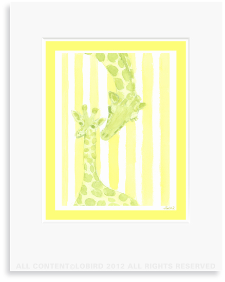 Giraffe-mother/baby  - 8 x 10 Print in 11 x 14 Mat